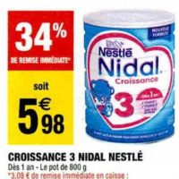 Lait de Croissance Nidal 3 Nestlé Bébé chez Carrefour Market (19/11 – 01/12)