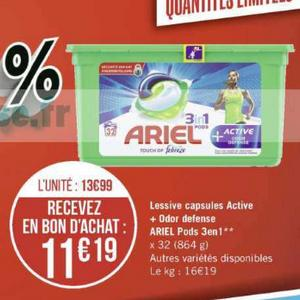 Lessive Ariel Pods 3en1 + chez Casino (11/11 – 24/11)