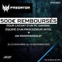 Offre de Remboursement Acer : Jusqu'à 500€ Remboursés sur PC Gaming + Accessoire