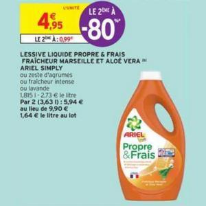 Lessive Ariel Simply chez Intermarché (19/11 – 01/12)