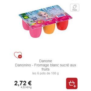 Fromage Blanc Sucré 6x100g Danonino chez Intermarché (19/11 – 30/11)