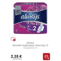 Serviettes Always Platinum Partout