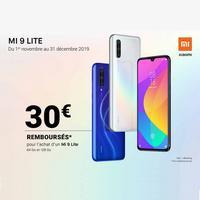 Offre de Remboursement Xiaomi : 30€ Remboursés sur Smartphone Mi 9 Lite