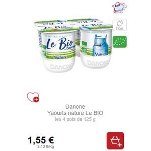 Yaourt Nature Le Bio Danone chez Intermarché (20/11 – 30/11)