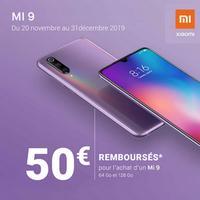 Offre de Remboursement Xiaomi : 50€ Remboursés sur Smartphone Mi 9 64 Go et 128 Go