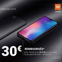 Offre de Remboursement Xiaomi : 30€ Remboursés sur Smartphone Mi 9 Se ou pack Mi 9 Se + Mi Band 3
