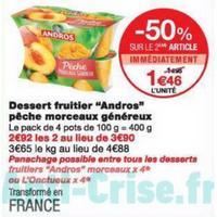 Dessert Fruitier avec Morceaux Andros chez Monoprix (20/11 – 01/12)