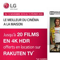 Bon Plan LG : Jusqu'à 20 Films en 4K HDR Offert sur Rakuten