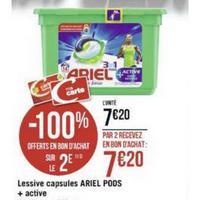 Lessive Ariel Pods+ 3en1 Active chez Géant Casino (25/11 – 08/12)