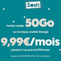 9.99€ par mois le Forfait Sosh Illimité 50Go (au lieu de 24.99€)