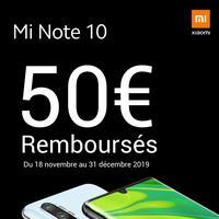 Offre de Remboursement Xiaomi : 50€ Remboursés sur Smartphone Note 10