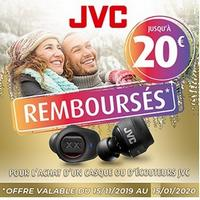 Offre de Remboursement JVC : Jusqu'à 20€ Remboursés sur Casque ou Ecouteurs