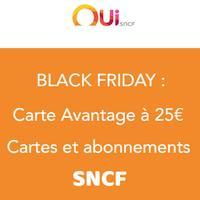 SNCF: toutes les cartes de fidélité à 25€ pour le BLACK FRIDAY