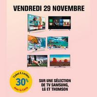 Leclerc : 30% en Ticket Leclerc sur une Sélection de TV  Samsung LG et Thomson (Le 29/11)