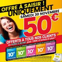Bon Plan Cora : 50€ en Bons d'achats pour 100€ (Le 30/11)