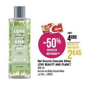 Gel Douche Love Beauty and Planet chez Géant Casino (02/12 – 15/12)