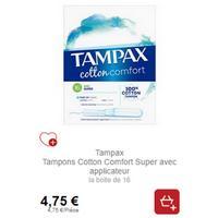 Tampons Cotton Comfort Tampax partout (01/11 – 30/11)