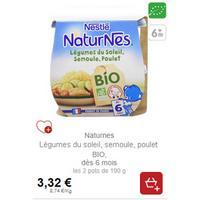 Naturnes Légumes du Soleil, semoule et poulet Bio Nestlé Bébé chez Intermaché (01/11 – 25/11)