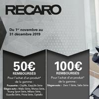 Offre de Remboursement Recaro : Jusqu'à 100€ sur un ou plusieurs produits