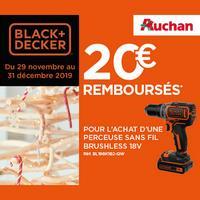 Offre de Remboursement Black + Decker : 20€ Remboursés sur Perceuse sans fil 18V chez Auchan