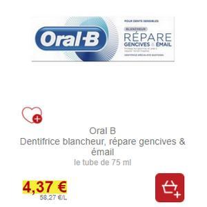 Dentifrice Gencives Répare & Email Oral-B partout (31/01)