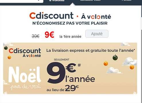9€ au lieu de 29 l'abonnement d'un an à Cdiscount à volonté