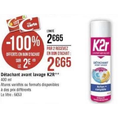 Détachant Aérosol Action Complète K2R chez Géant Casino (15/11 – 24/11)