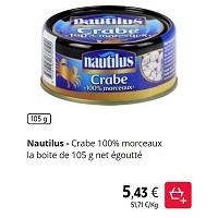 Crabe en Boîte 100% Morceaux Nautilus chez Intermarché