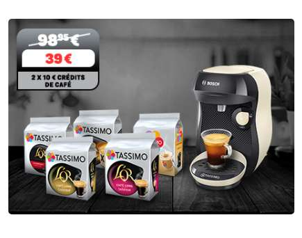 39€ le pack Machine Tassimo Happy + 5 paquets