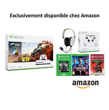 210€ le pack console XBOX ONE + 4 jeux + 2 manettes + 1 casque