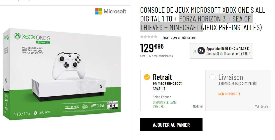 130€ le pack Console XBOX ONE ALL DIGITAL +  3 jeux