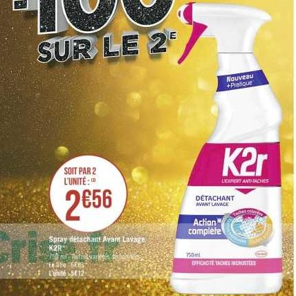 Détachant 750ml K2r chez Casino (23/12 – 05/01)