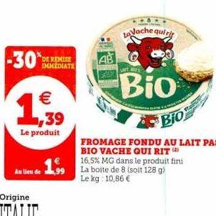 Fromage Fondu Bio La Vache Qui Rit chez Hyper U (27/12 – 04/01)
