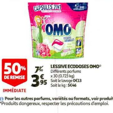 Lessive en Capsules Omo chez Auchan (26/12 – 07/01)
