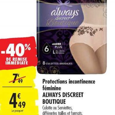 Culottes Boutique Always chez Carrefour (10/12 – 24/12)