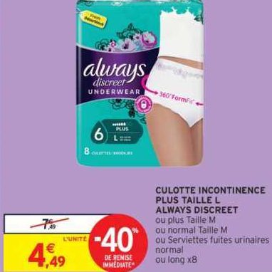 Culottes Discreet Always chez Intermarché (27/12 – 05/01)