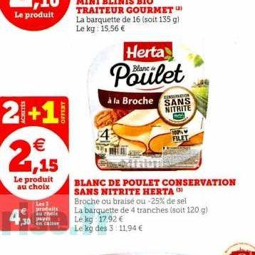 Blanc de Poulet Sans Nitrite Herta chez Magasins U (27/12 – 04/01)