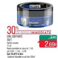 Cire Coiffante Taft chez Match (10/12 – 26/12)