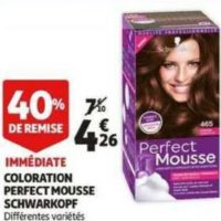 Coloration Perfect Mousse Schwarzkopf chez Auchan (11/12 – 17/12)