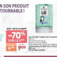 Gel Coiffant Taft chez Leader Price (10/12 – 24/12)