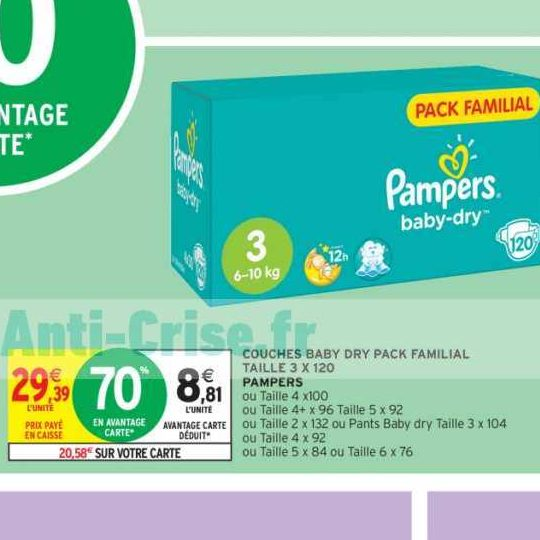 Couches Baby-Dry Pampers chez Intermarché (27/12 – 05/01)
