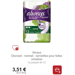 Serviettes Discreet Always Partout