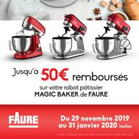 Offre de Remboursement Faure : Jusqu'à 50€ Remboursés sur Robot Pâtissier Magic Baker