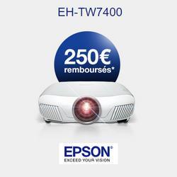 Offre de Remboursement Epson : 250€ Remboursés sur Vidéoprojecteur EH-TW7400