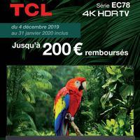 Offre de Remboursement TCL : Jusqu'à 200€ Remboursés sur Téléviseur EC78