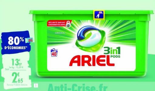 Lessive Ariel Pods 3en1 chez Carrefour (26/12 – 13/01)