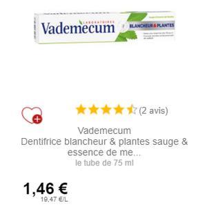Dentifrice Blancheur & Plantes Vademecum chez Intermarché (01/12 – 31/12)