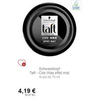 Cire Wax Effet Mat Taft Schwarzkopf chez Intermarché (01/12 – 31/12)