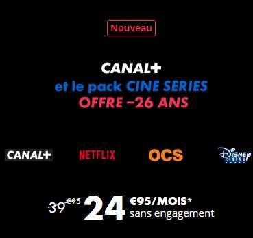 24.9€ par mois Canalplus+ CineSerie + Netflix (-de 26ans)
