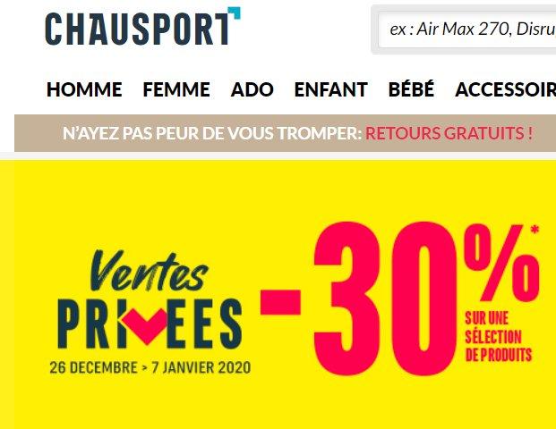 Vente privée Chausport : 30% de réduction